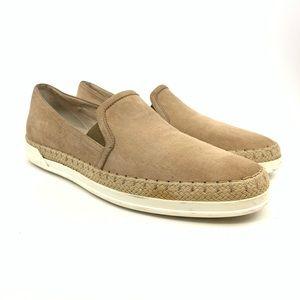 Tod's Suede Espadrille Slip-On Sneaker, tan.